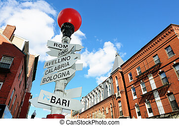 Little Italy in Boston - Sign depicting direction of...