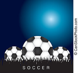 Socer balls - Black and white soccer background with three...