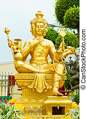 Gold statue of Brahma ,statuette of hindu god