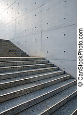 Stairs in front of a wall