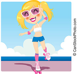 Roller Skater Girl - Cute roller skater girl enjoying...