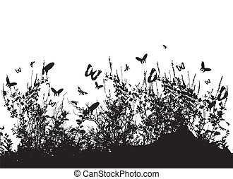 silhouette of grass and insects
