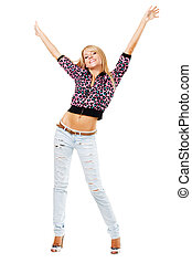Pretty blonde in blue jeans against white background