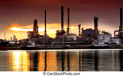 Landscape of river and oil refinery factory