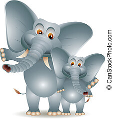 two cute cartoon elephant - vector illustration of two cute...