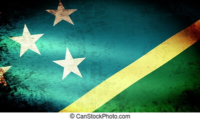 Solomon Islands Flag Waving, grunge look