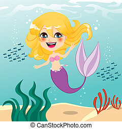 Beautiful Mermaid Girl - Beautiful little mermaid girl happy...