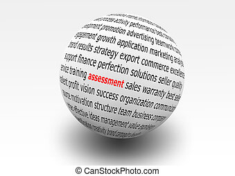 assessment - ball marked with business words and assessment