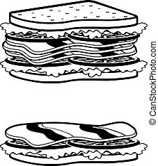 Two sandwiches icons - Vector illustration. It is created in...