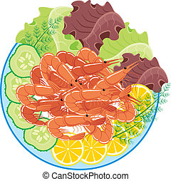 Dish from shrimps and vegetables - Vector illustration. It...