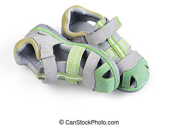children shoes on white background