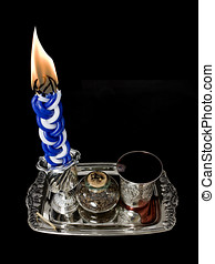Havdala candle, cup, and spice set; top view - Lighted...