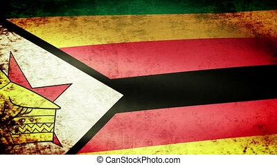 Zimbabwe Flag Waving, grunge look