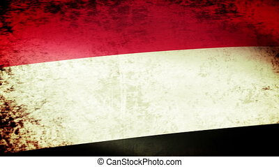 Yemen Flag Waving, grunge look
