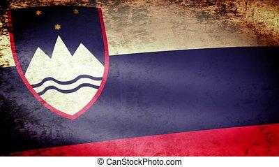 Slovenia Flag Waving, grunge look