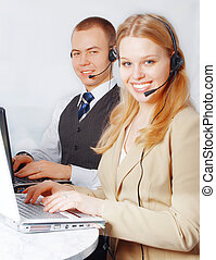 Customer service people - Closeup of a successful business...