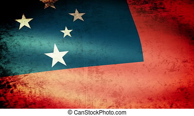 Western Samoa Flag Waving, grunge look
