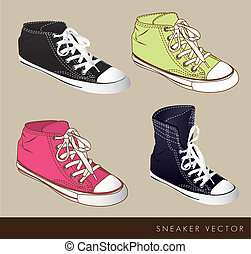 Tennis illustration - Black green and fucsia tennis on beige...