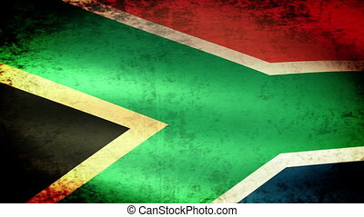 South Africa Flag Waving, grunge look