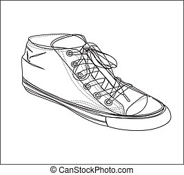 Causual shoes - Tennis silhouette on white background,...