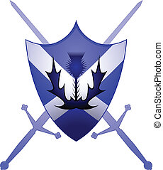 Scottish heraldry symbol - Thistle and Claymore swords with...
