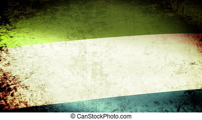 Sierra Leone Flag Waving, grunge look