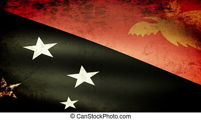 Papua New Guinea Flag Waving, grunge look