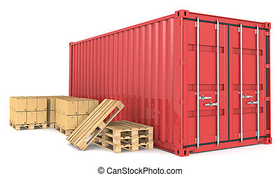 Cargo Container and Goods. - Red Cargo Container, pallets...