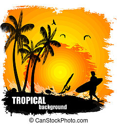 Beautiful tropical background on sunset, vector illustration