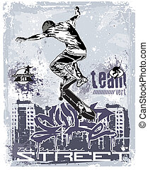 vert team skater - illustration for shirt printed and poster