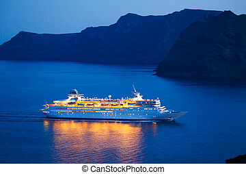 Cruise Ship - Luxury Cruise Ship at Sunset