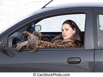 beauty woman in the car