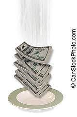 Cash Falling - Cash falling into your dinner plate