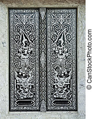 Traditional Thai style church door - Patterned marquetry...