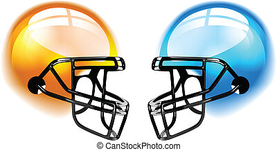 Football Helmets on white - Football Helmets with reflection...