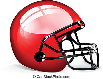 Red football helmet isolated over white background