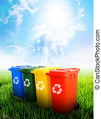Colorful recycle bins with landscape background - Colorful...