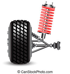 Front car suspension. Vector Illustration