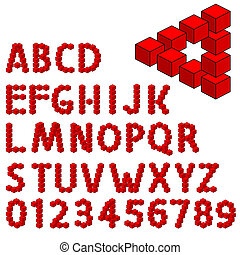 abstract optical illusion three dimension alphabet set....
