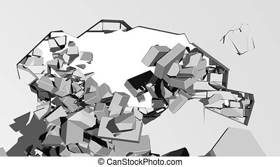 Crumbling concrete wall with hole - 3d illustration of a...