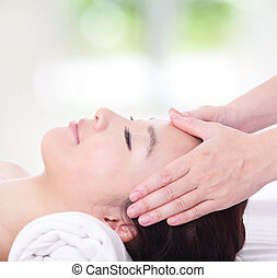 close up of woman in head massage, spa - close up of...