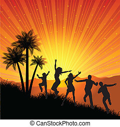 summer party - Silhouettes of people dancing on a tropical...
