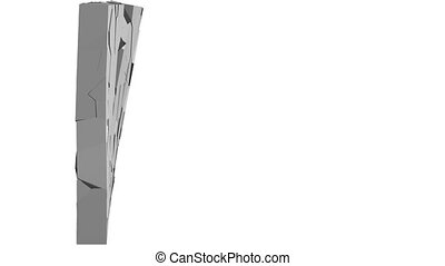 Crumbling concrete wall - 3d illustration of a crumbling...