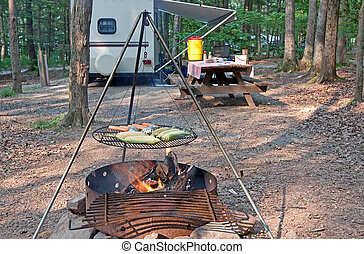 Mealtime at the Campground - An outdoor grill at a...