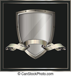 Shield and ribbon - Heraldic shield and ribbon for the...