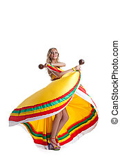 Blonde woman performing mexican dance - Young woman...