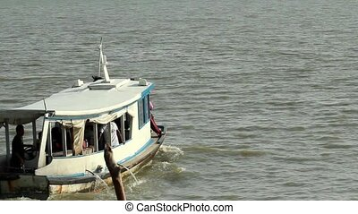 Boat Departing 1 - footage of a ferry boat departing from...