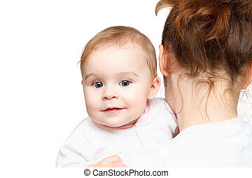 Mother holding baby on white background