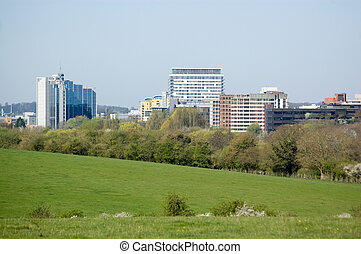 Basingstoke, Hampshire - View from Basing Common of the town...