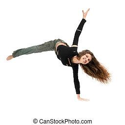 young woman dancing - young stylish woman dancing modern...